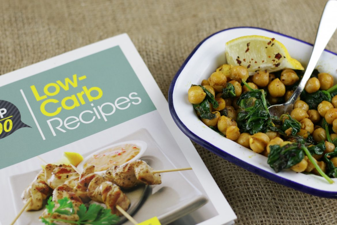 Spicy chickpeas spinach from the top 100 low carb recipes over the last month or so ive been using the cookbook the top 100 low carb recipes by nicola graimes this neat little book is packed full of low carb forumfinder Choice Image